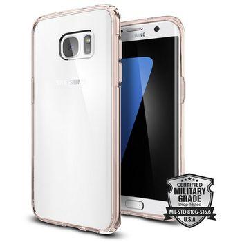 Spigen tenký kryt Ultra Hybrid pro Galaxy S7 edge, růžové