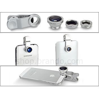 Brando Portable Clip-On Mobile Phone Camera Lens (Wide Angle + Marco + Fisheye Lens)