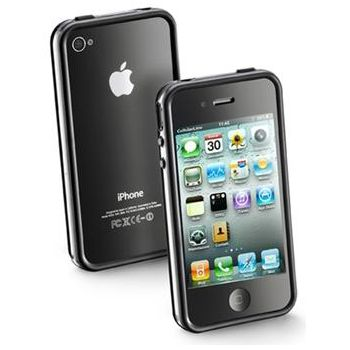 CellularLine Bumper pro iPhone 4 + fólie na přední a zadní stranu, černý