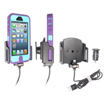 Brodit držák do auta na Apple iPhone 5/5S/5C/SE v pouzdru,nastavitelný, s nab. z cig. zapalovače/USB