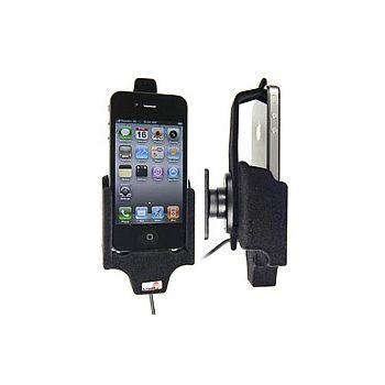 Brodit držák do auta na Apple iPhone 4/4S bez pouzdra, s nabíjením z cig. zapalovače/USB, samet