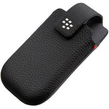 BlackBerry pouzdro kožené pro BlackBerry 9800/9810, klip s otočným čepem, černá