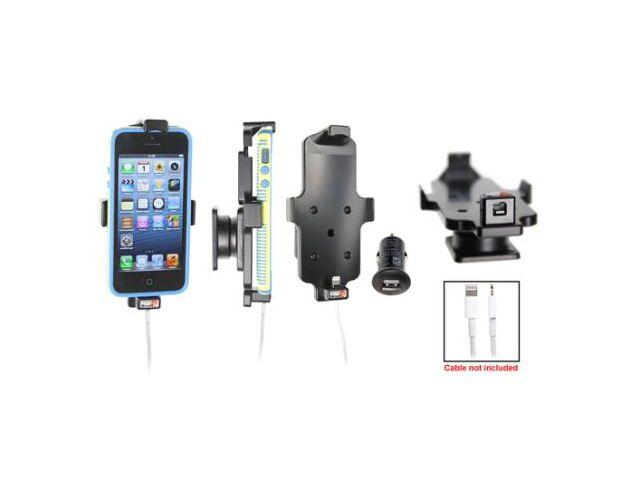 obsah balení Brodit držák do auta pro iPhone 5/5S v pouzdru s průchozím konektorem, konektor Belkin v balení + zadní kryt Spigen černý